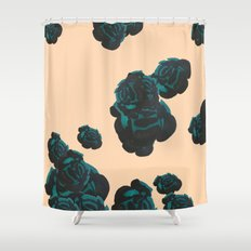 Green and Black Roses on Peach, Greenery Shower Curtain
