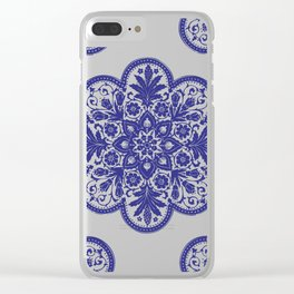 Floral Doily Pattern | Lace Crochet Doilies | Needle Crafts | Blue and White | Clear iPhone Case