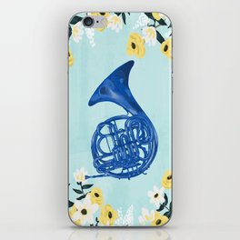 Blue French Horn iPhone Skin