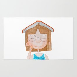 Smiling little cute girl with eyeglasses, and red book on her head. Watercolor illustration. Rug