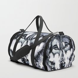 Abstract Wolf - Zoomed Duffle Bag