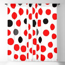 red grey black dots on white background pattern Blackout Curtain
