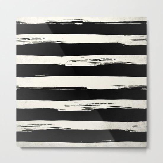 Trendy Black + Cream Stripes Metal Print