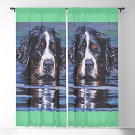 Bernese Mountain Dog art portrait Fine Art Dog Painting by L.A.Shepard Blackout Curtain