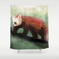 red panda Shower Curtains featuring Red Panda by Ben Geiger