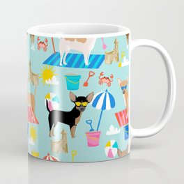 Miniature Doberman Pinscher dog beach day summer fun dog lover min pin Coffee Mug