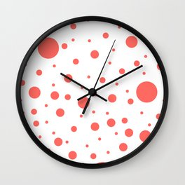 Mixed Polka Dots - Pastel Red on White Wall Clock