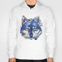indigo Hoodies featuring Indigo Wolf by Abby Diamond