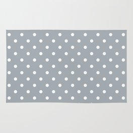 Grey Mist Background with White Polka Dots Rug