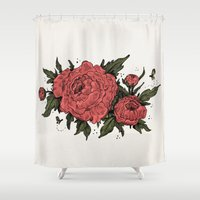 peonies Shower Curtains featuring Peonies! by Natalie Clapp