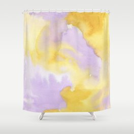 Lilac lavender sunflower yellow abstract watercolor Shower Curtain