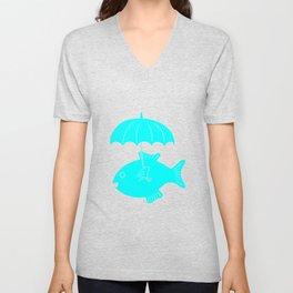 Fish with umbrella Unisex V-Neck