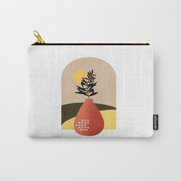 Orange  Pot with Black Palm Leaf Carry-All Pouch