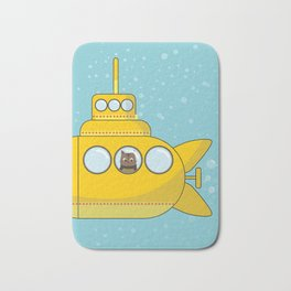 Yellow submarine with a cat and bubbles Bath Mat