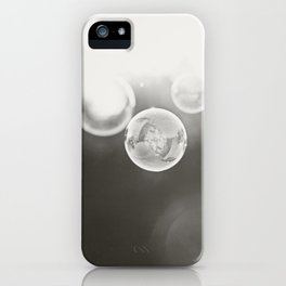 Bubble Photography, Black and White Bathroom Art, Laundry Room Photo iPhone Case