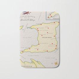 Trinidad & Tobago vintage map Bath Mat