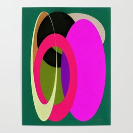 Abstract Composition in Green and Fuchsia Poster