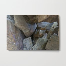 Natural Beach Rock Cave Texture Cornwall Metal Print