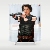 resident evil Shower Curtains featuring Milla Jovovich @ Resident Evil by Gabriel T Toro