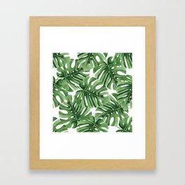 Tropical Watercolor Jungle Leaf Framed Art Print