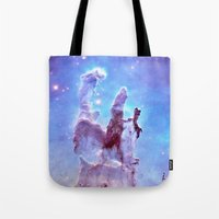 thanos Tote Bags featuring nEBulA Pastel Blue & Lavender by 2sweet4words Designs