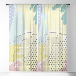 Violet Yellow Mint Decorative Abstract painting -1, Colour Symphony abstraction, Sheer Curtain