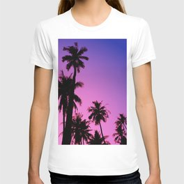 Tropical palm trees with purplish gradient T-shirt