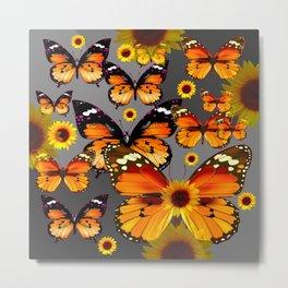 YELLOW & BROWN BUTTERFLIES  SUNFLOWER GREY ART Metal Print