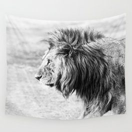 Black and White Lion Wall Tapestry