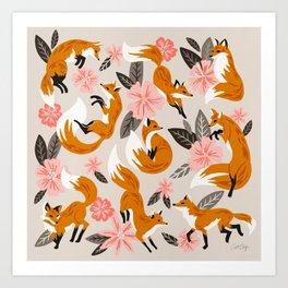 Foxes & Booms – Pink & Grey Art Print