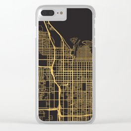 SALT LAKE CITY UTAH GOLD ON BLACK CITY MAP Clear iPhone Case