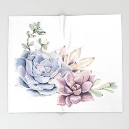 Pristine Succulents Blue and Pink Throw Blanket