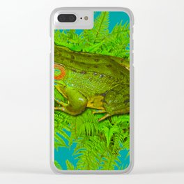 GREEN SWAMP FROG & GREEN FERNS Clear iPhone Case