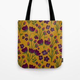 Purple and Gold Floral Seamless Illustration Tote Bag