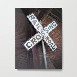 Railroad Crossing Sign Vignette Metal Print
