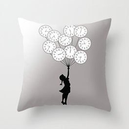 The Girl Flying With Time Throw Pillow