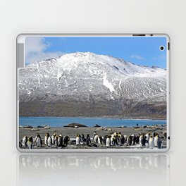 Snowy mountain with King Penguins in the Foreground Laptop & iPad Skin