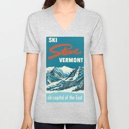 Stowe, Vermont Vintage Ski Poster Unisex V-Neck