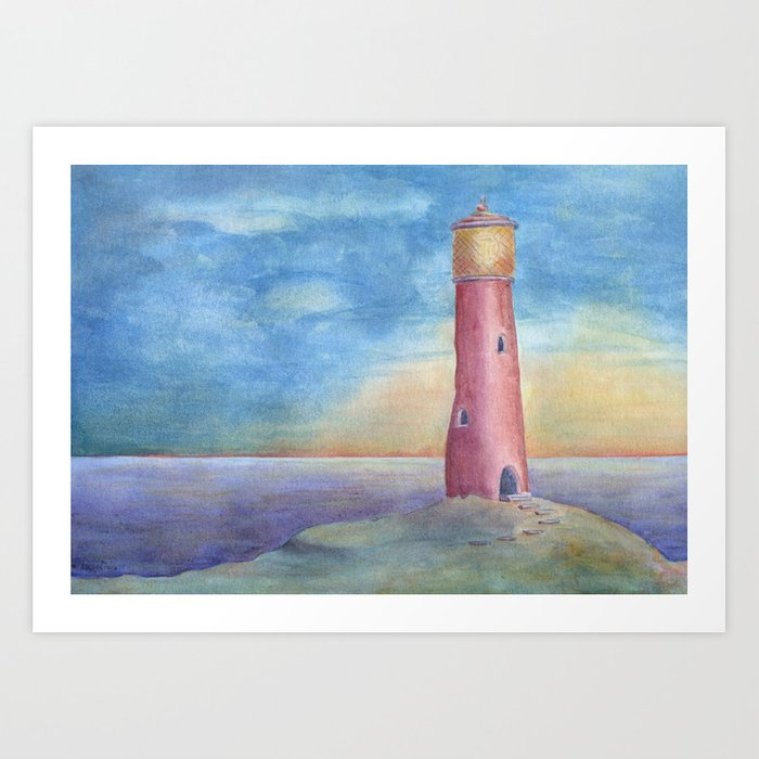 Evening at the lighthouse Art Print