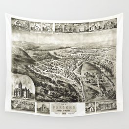 Aerial View of Parsons, West Virginia (1905) Wall Tapestry