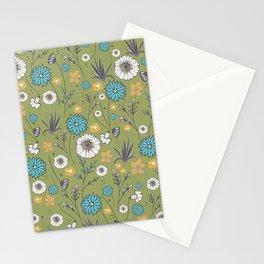 Emma_Wildflowers in Avocado Green Stationery Cards