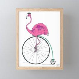 Flamingo on Penny Farthing Framed Mini Art Print
