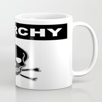 anarchy Mugs featuring ANARCHY SKULL by shannon's art space