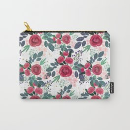 Cute Rose Pink Peonies Watercolor Paint Gold Dots Design Carry-All Pouch