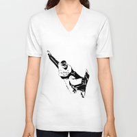 snowboarding V-neck T-shirts featuring Snowboarding Design by Cwilwol