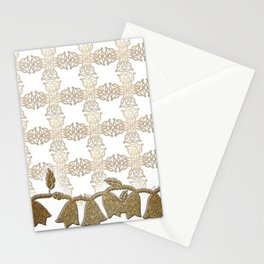 Golden Lace with Border Stationery Cards