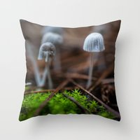 mushrooms Throw Pillows featuring Mushrooms by Michelle McConnell