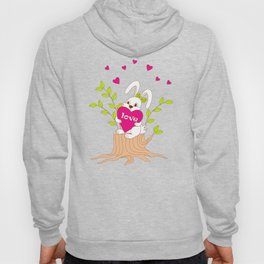 cute bunny with love on the stump Hoody