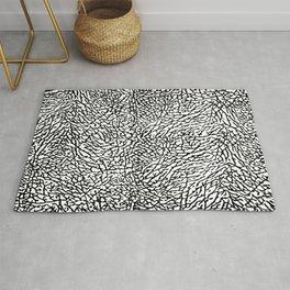 Elephant Print Texture - White and Black Rug