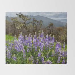 Lupines In The Hills Throw Blanket